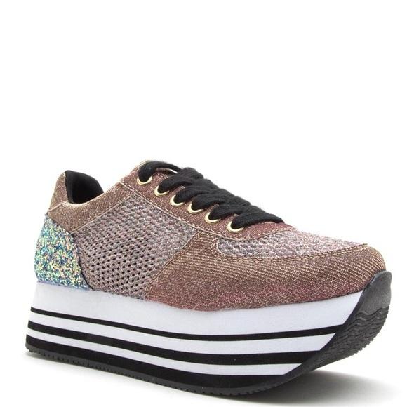 c8d53a3b405 LAST 10 QUPID pink glitter PLATFORM sneaker TREND